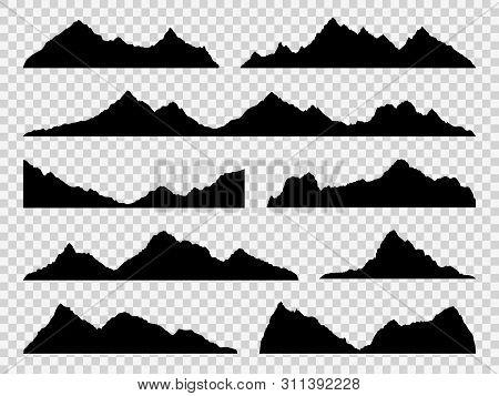 Black Mountains Silhouettes. Ranges Skyline, High Mountain Hike Landscape, Alpine Peaks. Extreme Hik