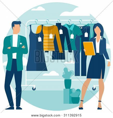 Yong Man And Woman At Shopping. Flat Desin  Vector Concept. Rack With Clothes On Hangers, Vector Con