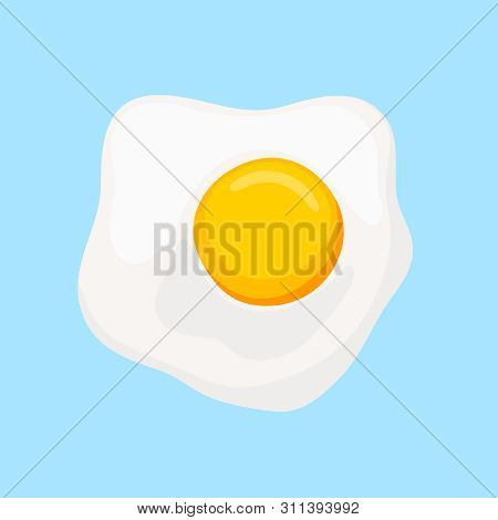 Scrambled Eggs With Yellow Yolk Top View. Yellow Fried Egg To Breakfast. Vector Illustration