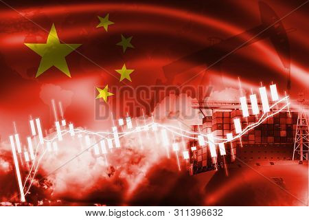 Peoples Republic Of China Flag, Stock Market, Exchange Economy And Trade, Oil Production, Container