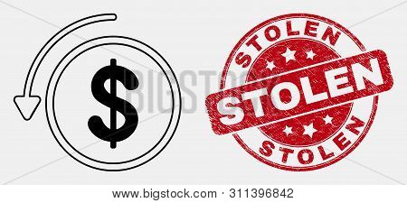 Vector Line Undo Payment Pictogram And Stolen Seal Stamp. Blue Round Textured Stamp With Stolen Mess