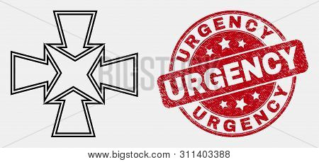 Vector Outline Shrink Arrows Icon And Urgency Seal. Blue Round Scratched Seal With Urgency Message.