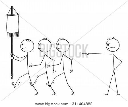 Vector Cartoon Stick Figure Drawing Conceptual Illustration Of Manager Or Boss Sending His Team Of B