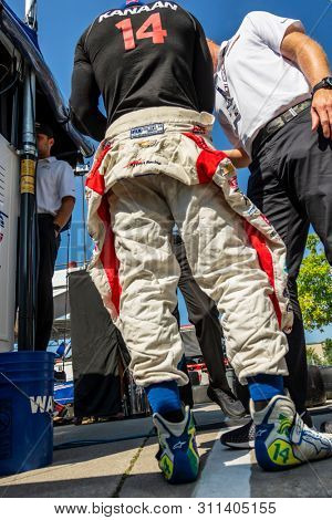 July 13, 2019 - Toronto, Ontario, CAN: TONY KANAAN (14) of Brazil practices for the Hondy Indy Toronto at Streets of Toronto in Toronto, Ontario.