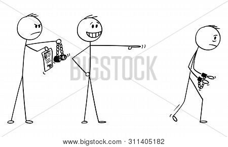 Vector Cartoon Stick Figure Drawing Conceptual Illustration Of Businessman Making A Mock Or Ridicule