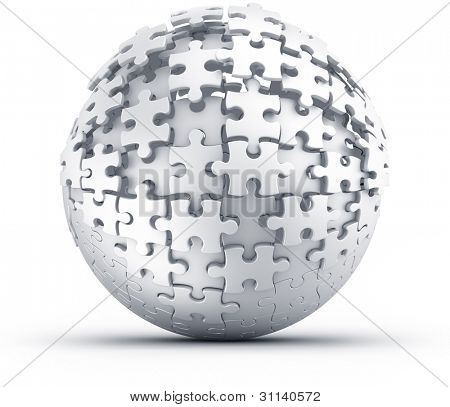 3d rendering of a spherical puzzle being build
