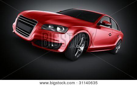 3d rendering of a brandless generic red car of my own design in studio environemnt