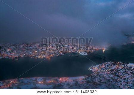 Aerial View To The City Of Tromso In Winter From Above, Northern Norway