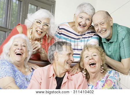 Six Senior Friends Laughing And Having Fun