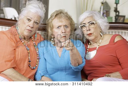 Three Angry Senior Women Expressing Their Displeasure