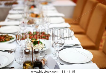 Table In A Restaurant Is Ready For Banquet