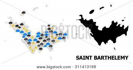Weather Mosaic Vector Map Of Saint Barthelemy. Geographic Mosaic Map Of Saint Barthelemy Is Organize