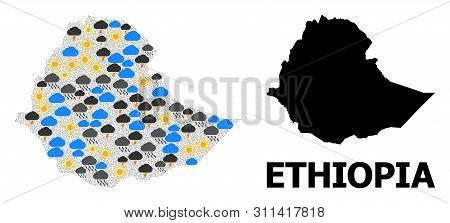 Weather Mosaic Vector Map Of Ethiopia. Geographic Concept Map Of Ethiopia Is Constructed With Scatte