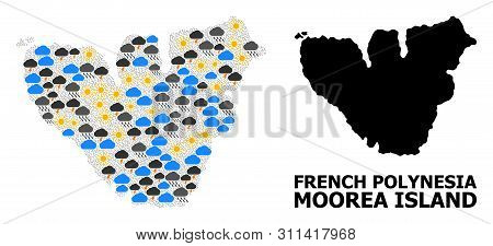 Climate Collage Vector Map Of Moorea Island. Geographic Composition Map Of Moorea Island Is Created