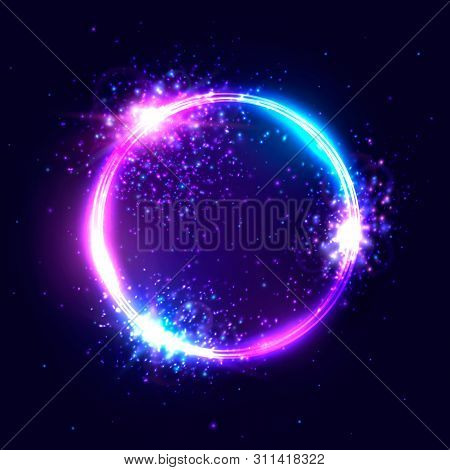 poster of vibrant neon circle with glowing confetti particles on dark blue background. Modern round frame with text space. Abstract bright neon loop. Colorful advertising banner card design illustration.