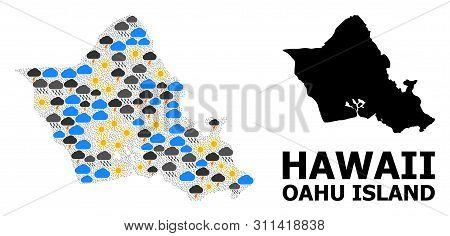 Climate Mosaic Vector Map Of Oahu Island. Geographic Mosaic Map Of Oahu Island Is Organized With Ran