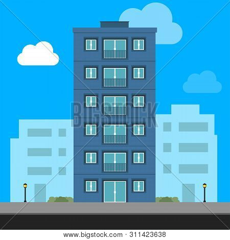 Buildings Icon And Office Icon - Illustration Stock Illustration. Apartment Vector Isolated. Office