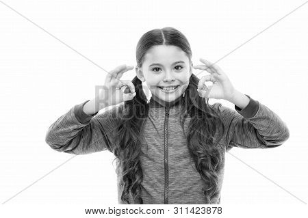 Things Gonna Be Alright. Girl Child Happy Face While Show Ok Gesture White Background. Kid Satisfied