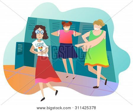 Teenagers Mocking Female Classmate At School. Girl Student Is Lesbian. Concept Of Infringement Of Ri