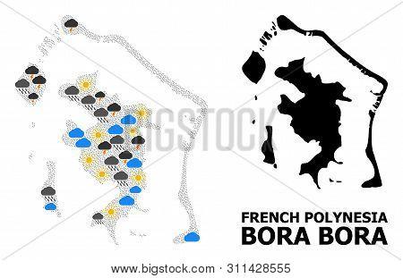 Weather Collage Vector Map Of Bora-bora. Geographic Collage Map Of Bora-bora Is Combined From Scatte