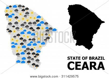 Weather Collage Vector Map Of Ceara State. Geographic Collage Map Of Ceara State Is Designed From Ra