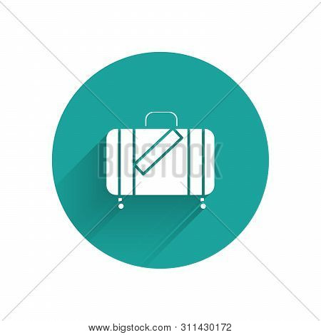 White Suitcase For Travel And Stickers Icon Isolated With Long Shadow. Traveling Baggage Sign. Trave