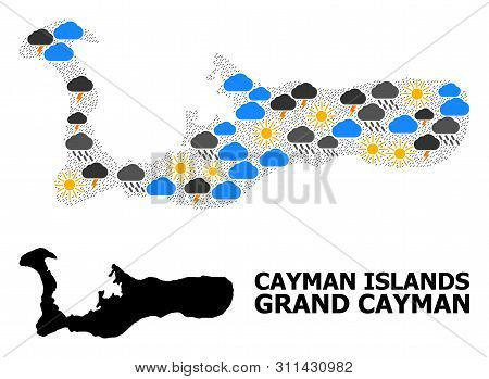 Weather Pattern Vector Map Of Grand Cayman Island. Geographic Concept Map Of Grand Cayman Island Is