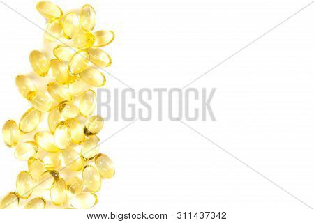 Fish Oil Capsules On A White Background