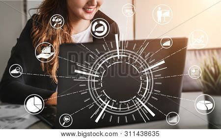 Data Analysis For Business And Finance Concept. Graphic Interface Showing Future Computer Technology