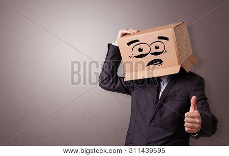 Man with cardboard box head