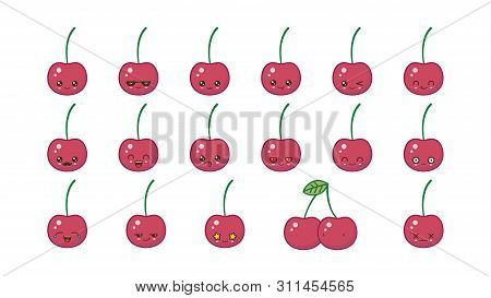 Cherry Cute Kawaii Mascot. Set Kawaii Food Faces Expressions Smile Emoticons.