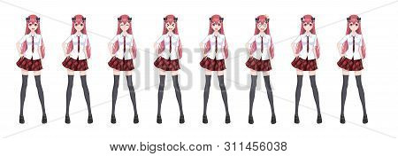 Anime Manga Girl, Cartoon Character In Japanese Style. In A White Shirt, A Red Skirt In A Cage, A Ti