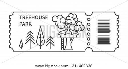 Ticket With Barcode And Glamping Treehouse In Linear Style. Banner For Camping Travel Tour. Glamping