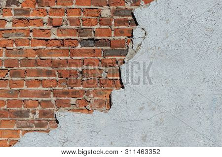 Brick Wall With Concrete Elements. Old Red Brick Wall. Red Brick. Stone Wall. Textures Brick Wall.