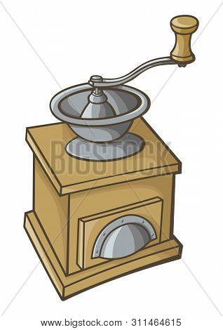 Manual, Hand Coffee Grinder Vector Illustration. Wood And Metal.