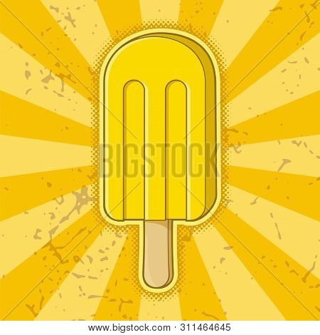 Lemon Ice Cream Stick Icon On Yelllow Grunge Background.