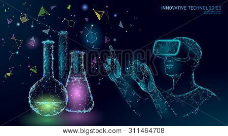 Science Biology Gene Modifying Concept. Vr Headset Holographic Projection Virtual Reality Glasses. F
