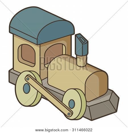 Wooden Toy Train Icon In Vintage Color Palette.