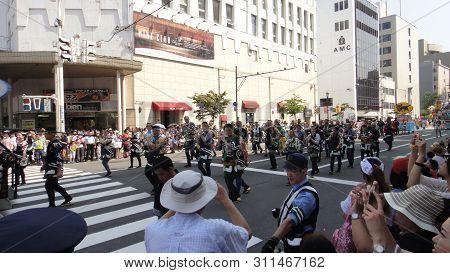 Aomori, Japan - Aug 6 2018 : Aomori Cityscape During Nebuta Matsuri. Nebuta Matsuri Is A Japanese Su