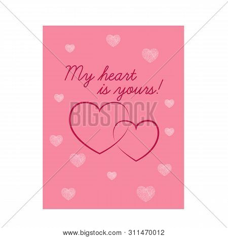 Beautiful Pink Valentine S Day Card With Hearts