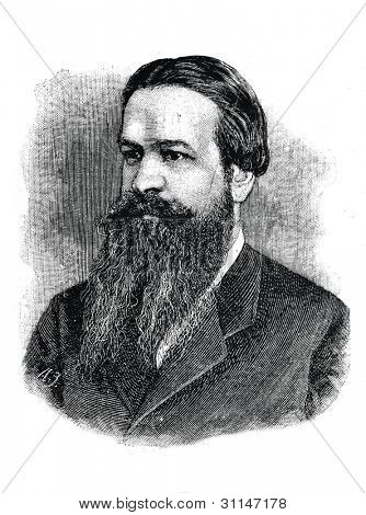 "Victor Gajewski - Russian writer, a friend of Turgenev and Nekrasov. Engraving by  Shyubler. Published in magazine ""Niva"", publishing house A.F. Marx, St. Petersburg, Russia, 1888 poster"