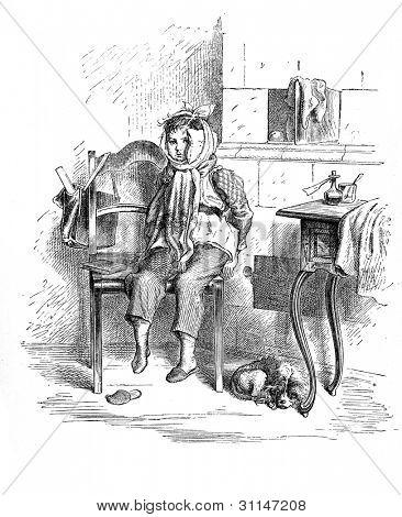 """Spoilt"" - engraving by Oscar Pletsch. Published in �«Little Folks�» book, London, 1865"