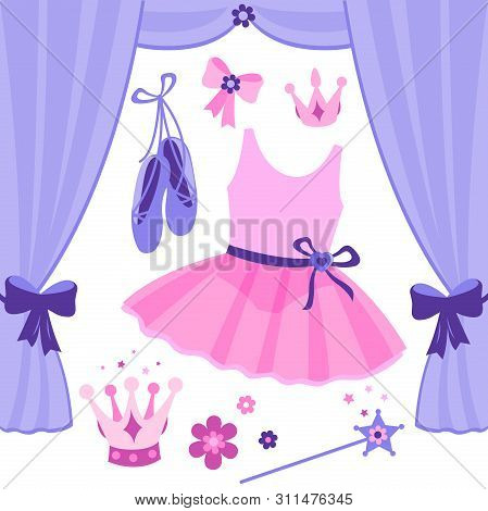 Vector Illustration Ballet Set With Cute Pink And Purple Ballerina Accessories.