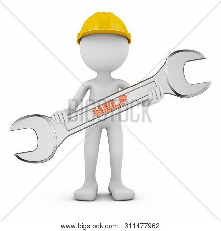 Man With Wrench On White Background. 3d Render