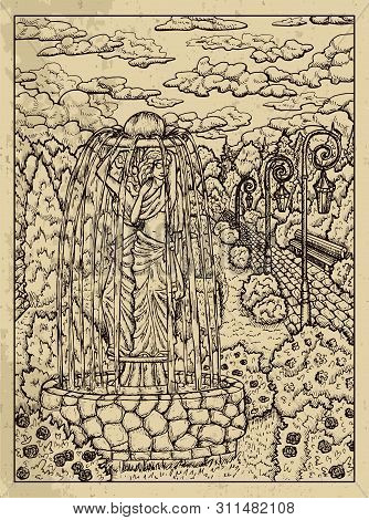 Garden. Mystic Concept For Lenormand Oracle Tarot Card. Vector Engraved Illustration. Fantasy Line A