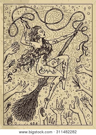 Whip. Mystic Concept For Lenormand Oracle Tarot Card. Vector Engraved Illustration. Fantasy Line Art