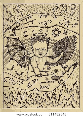 Demon Child. Mystic Concept For Lenormand Oracle Tarot Card. Vector Engraved Illustration. Fantasy L