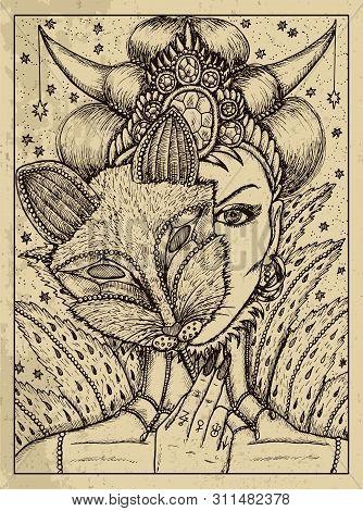 Fox. Mystic Concept For Lenormand Oracle Tarot Card. Vector Engraved Illustration. Fantasy Line Art