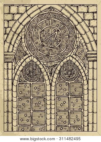 Stars. Mystic Concept For Lenormand Oracle Tarot Card. Vector Engraved Illustration. Fantasy Line Ar