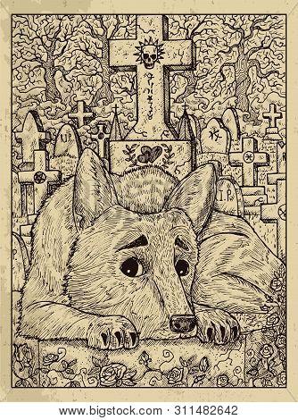 Dog. Mystic Concept For Lenormand Oracle Tarot Card. Vector Engraved Illustration. Fantasy Line Art